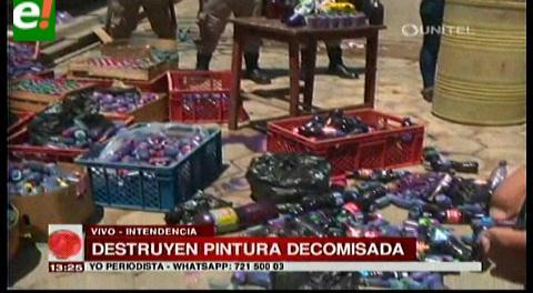Intendencia destruye la pintura decomisada en carnaval