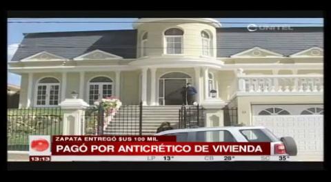 Gabriela Zapata pagó 100.000 dólares por anticrético de vivienda