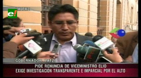 Gobernador Patzi dice que Elío debiera renunciar, tras violencia en El Alto