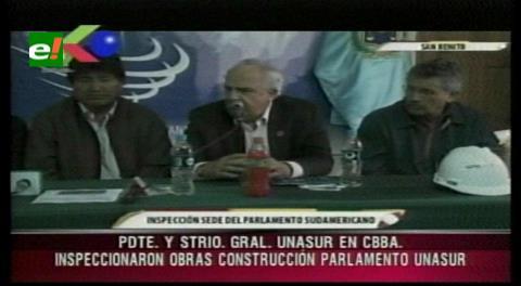 Presidente Evo Morales y Ernesto Samper inspeccionan obras del Parlamento de Unasur