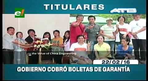 Titulares de TV: Gobierno cobró las boletas de garantía de la CAMC
