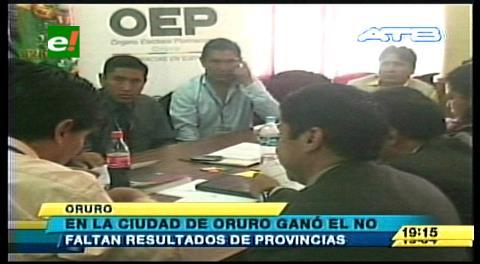 Ciudad de Oruro: El NO ganó por más de 10 puntos