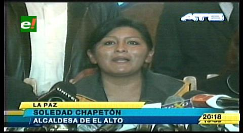 El Alto. Alcaldesa opositora denuncia conspiración y pide garantías al gobierno de Evo