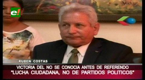 Rubén Costas destaca lucha del pueblo en la victoria por el NO
