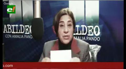 """Amalia Pando: """"Traerán a Valverde preso a La Paz con encapuchados"""""""