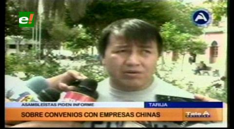 Legislativo de Tarija espera informe sobre contratos con empresas chinas
