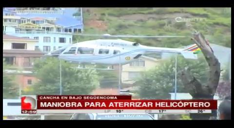 Peligrosa maniobra del piloto que tenía que recoger a García Linera