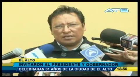 Alcaldía de El Alto invita a Evo a participar de los festejos de la ciudad