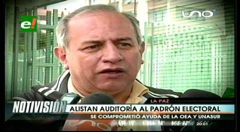 TSE coordinará con UNASUR y OEA auditoría al padrón electoral de Bolivia