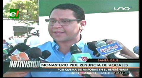 Diputado Monasterio pide la renuncia de los vocales del TED