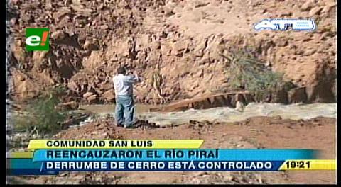 Searpi reencauza río Piraí por caída del cerro San Luis