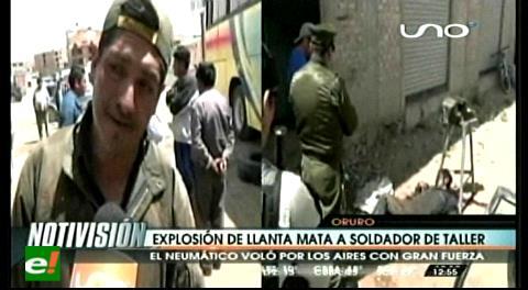 Oruro: Explosión de una llanta mata a un soldador