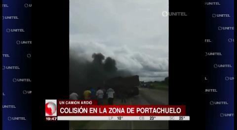Tráiler se incendia tras impactar con un camión en la vía a Portachuelo
