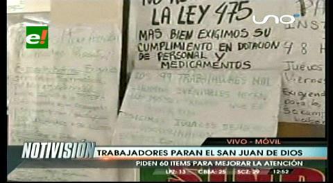 Trabajadores de Hospital San Juan de Dios en paro de 48 Hs