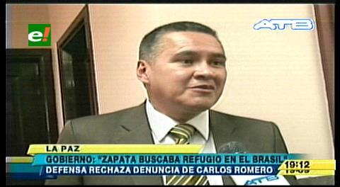 Refugio en Brasil: Defensa de Zapata rechaza aseveraciones del Ministro Romero