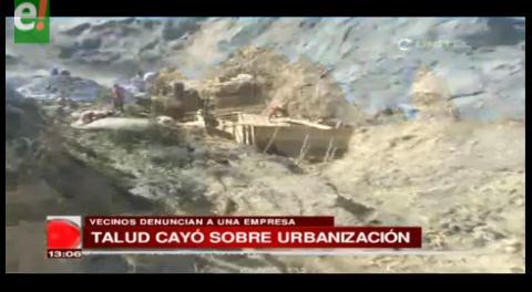 Talud cayó sobre urbanización en La Paz