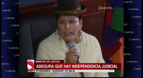 Ministra de Justicia asegura que hay independencia judicial en Bolivia