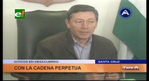 Civicos cruceños en desacuerdo con la implementación de la cadena perpetua