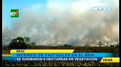 Beni: Bomberos sofocaron un incendio de 6 hectáreas por la laguna Suárez