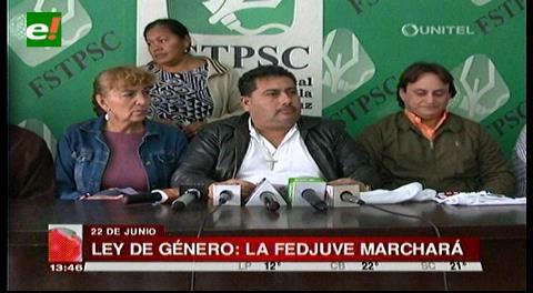 Santa Cruz: Fejuve marchará el 22 de junio contra la Ley de Género