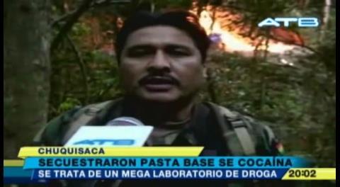 Encuentran megalaboratorio de cocaína en Chuquisaca