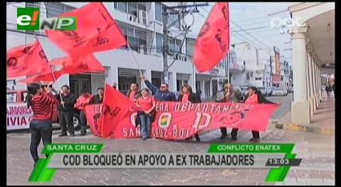 Fabriles cruceños y chuquisaqueños marchan en rechazo al cierre de Enatex