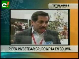 Piden investigar presencia del MRTA en Bolivia