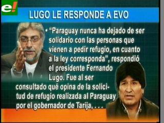 Lugo dice a Evo que Paraguay es solidario con los refugiados