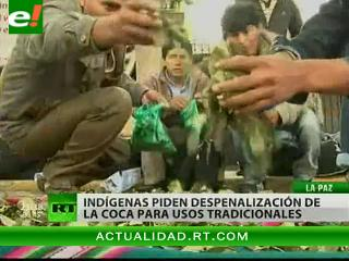 Manifestaciones en Bolivia contra la prohibición de la hoja de coca
