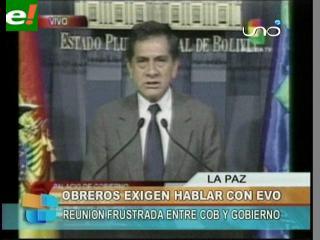Gobierno abre la posibilidad de reanudar diálogo con la COB