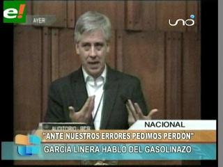 """García Linera pide perdón por el """"error"""" del """"gasolinazo"""""""