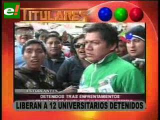 Liberan a 12 universitarios detenidos