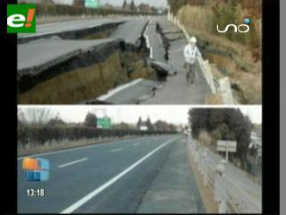 Japón reconstruyó una autovía en 6 días