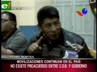 COB rechaza preacuerdo con el Gobierno