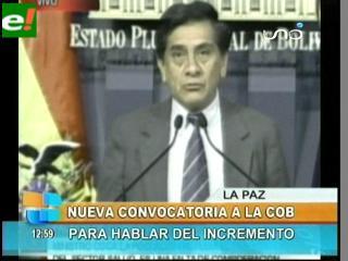 Gobierno convoca a dirigencia de la COB a retornar al diálogo