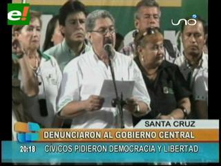 Santa Cruz pide respeto a la democracia y libertad