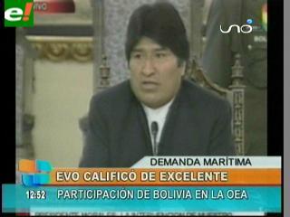 """Pese a críticas, Evo califica como """"excelente"""" la intervención de Choquehuanca en la OEA"""