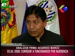 Choquehuanca pide a la Embajada de EEUU investigar a sus funcionarios