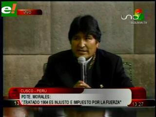 """Evo afirma que tratado de 1904 con Chile fue """"injusto e impuesto por la fuerza"""""""