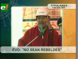 Evo pide a indígenas del Tipnis dejar la rebeldía