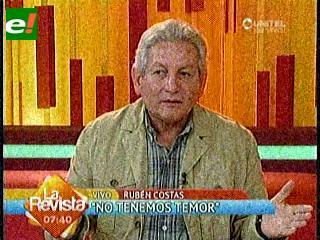"""Costas convoca a los cruceños a defender el voto popular, """"la Patria unida jamás será vencida"""""""