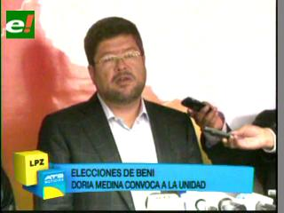 Doria Medina convoca al MSM a unirse a la unidad tras la derrota de Nuni en Beni