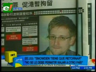 Casa Blanca advierte que Snowden no debe viajar a otro país que no sea EEUU