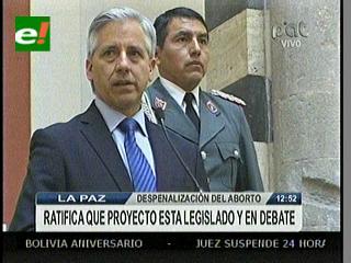 Álvaro García ratifica prohibición del aborto en Bolivia