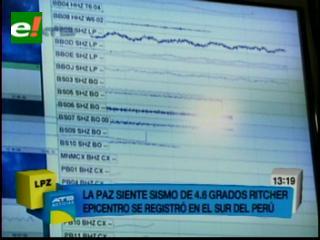 Sismo de 4 grados en la escala de Ritcher en La Paz