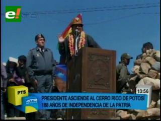 Evo Morales homenajea a Bolívar en el Cerro Rico para abrir festejos patrios