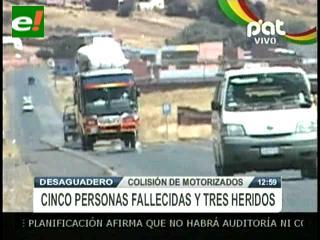 Colisión de vehículos deja cinco muertos y tres heridos
