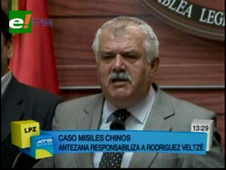 Senador Antezana acusa a Rodríguez Veltzé en el caso de la desactivación de los misiles