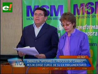 Vocal del TSE asegura que curul de Zavaleta es del MAS, MSM lo procesará por tránsfugo