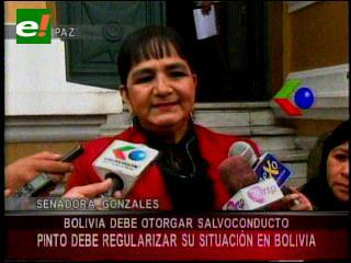 Gonzales pide otorgar salvoconducto a Pinto para legalizar su situación en Brasil